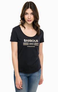 Черная футболка с контрастным принтом Barbour