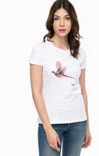 Хлопковая футболка с контрастным принтом Barbour