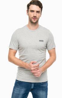 Серая футболка с логотипом бренда Barbour