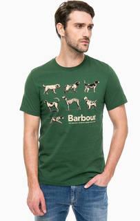 Зеленая хлопковая футболка с принтом Barbour