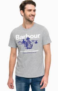 Серая хлопковая футболка с принтом Barbour