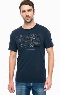 Синяя хлопковая футболка с принтом Barbour