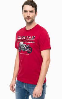 Красная хлопковая футболка с принтом Barbour