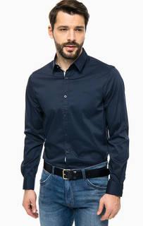 Синяя приталенная рубашка из хлопка Guess