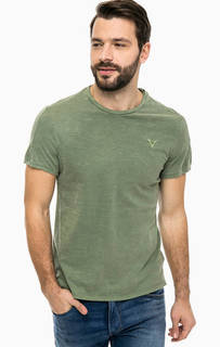 Хлопковая футболка цвета хаки Guess