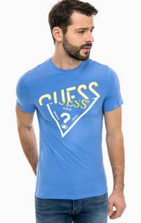 Синяя футболка с контрастным принтом Guess