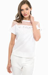 Белая футболка с отделкой камнями и перьями Marciano Guess