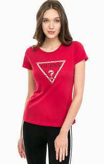 Красная футболка с металлической отделкой Guess
