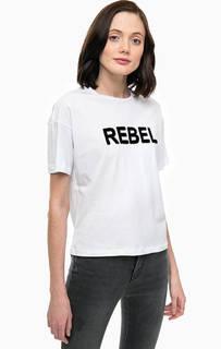 Белая хлопковая футболка с принтом Only