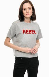 Серая хлопковая футболка с принтом Only