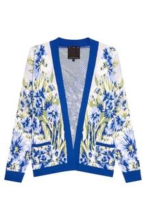 Синий шерстяной кардиган с цветами 7КА