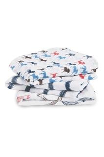 Хлопковые пеленки с контрастным принтом Aden+Anais