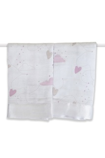 Хлопковые полотенца с принтом и окантовкой, 2 шт Aden+Anais
