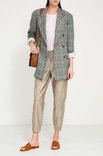 Кожаные серебристые брюки Lorena Antoniazzi
