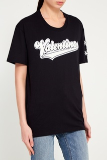 Черная футболка с аппликацией Valentino