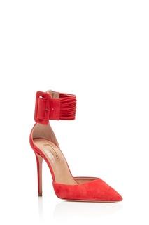 Красные замшевые туфли на шпильке Casablanca Pump 105 Aquazzura