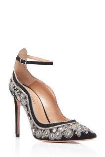 Замшевые туфли с вышивкой Jaipur Pump 105 Aquazzura