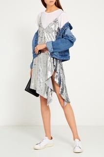 Платье с серебристыми пайетками Mo&Co