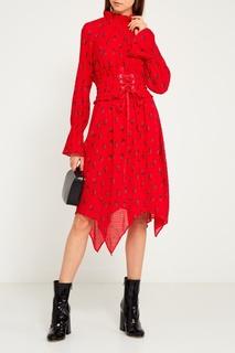 Красное платье с принтом Mo&Co