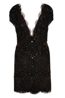 Черное платье с бахромой Marchesa