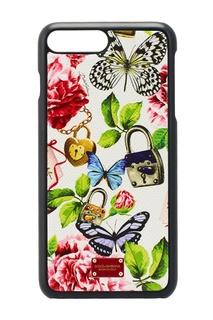 Белый кожаный чехол для iPhone 7 Plus Dolce & Gabbana