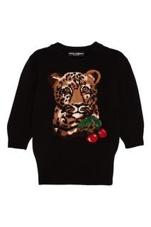 Шерстяной джемпер с леопардом Dolce & Gabbana
