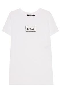 Белая футболка с монограммой Dolce & Gabbana
