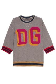 Хлопковый свитшот с отделкой люрексом Dolce & Gabbana