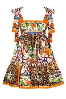 Хлопковое платье с принтом «майолика» Dolce & Gabbana