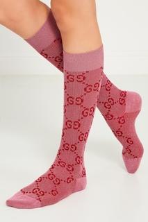 Розовые носки с монограммами Gucci