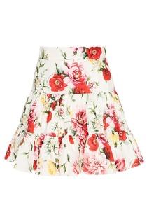 Хлопковая юбка с цветами Dolce & Gabbana