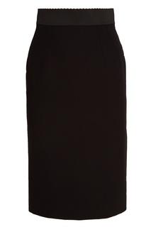 Черная шерстяная юбка-карандаш Dolce & Gabbana