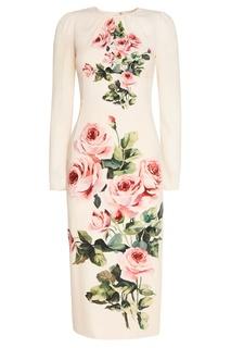 Платье из шелка с розами Dolce & Gabbana