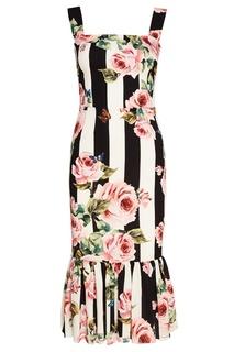 Шелковое платье с воланом по низу Dolce & Gabbana