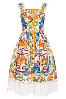 Платье из хлопка с принтом «майолика» Dolce & Gabbana