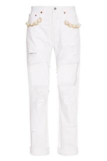 Белые декорированные джинсы Forte Couture