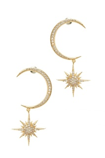 Золотистые серьги со звездами Ruby Novich