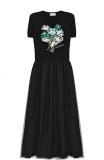 Шерстяное платье-миди с коротким рукавом REDVALENTINO