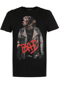 Хлопковая футболка с принтом и потертостями Dom Rebel