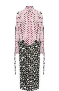 Платье свободного кроя из смеси вискозы и шелка Marni