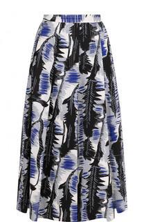 Хлопковая юбка-миди в складку с принтом Marni