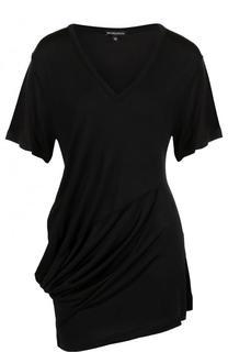 Однотонная удлиненная футболка с драпировкой Ann Demeulemeester