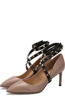Кожаные туфли Valentino Garavani Studwrap с ремешками на шпильке Valentino