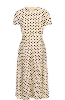 Приталенное шелковое платье-миди в горох Burberry