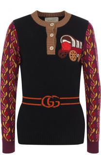 Приталенный пуловер из смеси шерсти и кашемира с круглым вырезом Gucci