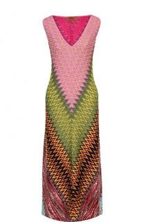 Приталенное вязаное платье-миди с V-образным вырезом Missoni