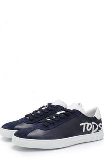 Кожаные кеды на шнуровке с аппликацией Tod's Tods