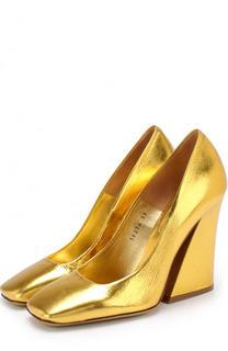Туфли из металлизированной кожи на фигурном каблуке Dries Van Noten