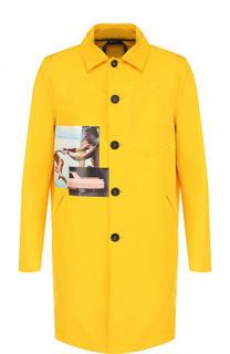 Однобортное пальто на пуговицах с принтом No. 21