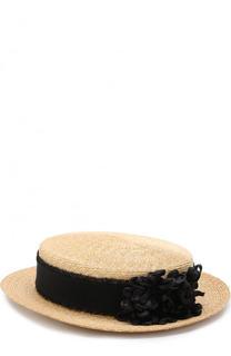 Соломенная шляпа с джинсовой лентой и брошью Inverni